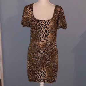 Cache leopard print bodycon dress